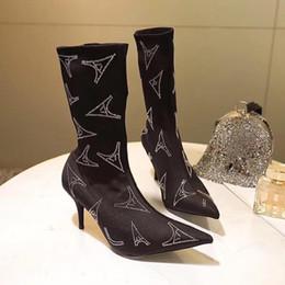Lüks Streç saten Ayak Bileği Çizmeler Kadın Siyah Martin Sivri Burun Çizmeler kristal Bıçak Patik bayan Elbise Ayakkabı Tasarımcısı yüksek topuk 8 cm nereden siyah saten elbise ayakkabıları tedarikçiler