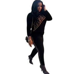 Pantalones lápiz xxl online-F Carta Impreso Chándal Mujeres de Manga Larga Sudaderas Con Capucha Pantalones 2 unids / set Sudadera Lápiz Pantalones Largos Traje Deportivo Ropa de Gimnasio OOA6569