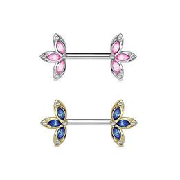 Anillos del pezón del rhinestone online-Acero inoxidable Nipple Clip Crystal Leaf Flor Pezón Anillo Rhinestone Joyería Piercing del cuerpo para las mujeres
