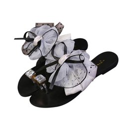 e9a8c6f74 flip flops wholesale bow Promo Codes - Fashion Women Summer Flower Bow Flat  Heel Toe slipper