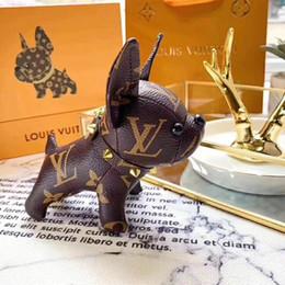2019 schlüsselbund parfümflaschen Großhandel neue Design echte Kuh Leder französische Bulldogge Schlüsselanhänger Markendesign französische Bulldogge Schlüsselanhänger Anhänger