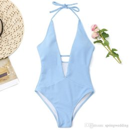 Beaux bikinis en Ligne-Belle Summer Halter Bleu Clair One Piece Femmes Maillots De Bain V Cou Dos Nu Body De Plage Maillots De Bain SO0502