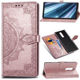 Portefeuilles de tournesol en Ligne-Étui portefeuille en cuir impression fleur pour Sony Xperia XZ4 Redmi Note 7 Galaxy A8S J7 Duo Xiaomi jouer fente pour carte dentelle Flip Cover Pochette de tournesol