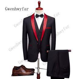 Pantalón de abrigo negro para hombres online-Gwenhwyfar (Chaqueta + Pantalones) Traje de hombre negro con chal rojo Solapa Novio Esmoquin Hombres Blazer de boda Últimos diseños de pantalón de abrigo