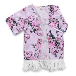 d450fccb21a371 Newest Kids Girl Kimono Floral Boho Printed Swimwear Cover Ups 2019 Summer  Tassel Ball Boho Cardigan Tops Jacket Beach Cover Up kimono tassels deals
