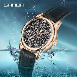 2020 проектирование водных часов SANDA New Ladies Rhinestone Quartz Watches Water Resistant Fashion Dress Casual Simple Designed Female Watch Elegant Women Clock скидка проектирование водных часов
