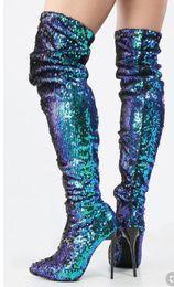 Pintura de mulher sexy on-line-Correspondência de cores Pointed Street Shooting Modelo Nightclub Passarela Sexy Paint Boots Botas De Salto Alto Com Zíper Stiletto Moda Feminina