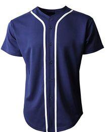botones cortos Rebajas Camiseta de manga corta para hombre del equipo de béisbol 2019 para hombre Camiseta lisa de manga corta azul marino / Whitejerseys