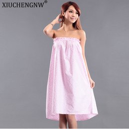 beauty salon clothes Coupons - Beauty Salon Bath Skirt Bathrobe Summer Section Wrapped Chest Sweat Steaming Clothes Women Tube Top Nightdress Pajamas Customer