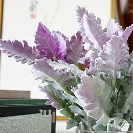 2019 piante artificiali viola Floccato Artificiale Miller Piante Viola Foglie Home Matrimonio Natale Fai da te Decorazione Fiori finti Disposizione Faux Foliage piante artificiali viola economici