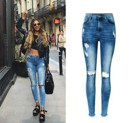 la moda spinge i jeans Sconti Bella Jeans a vita alta con buco strappato Donna Blu Navy Jeans skinny graffiati Femme Push Up Bleached Moda Vaqueros Mujer Primavera