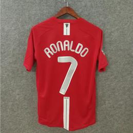 2019 jerseys de epl Retro camiseta de fútbol 2007 2008 MU hombre camisetas de fútbol ropa de fútbol de calidad superior nombre personalizado número RONALDO 7 EPL parche utd jerseys de epl baratos