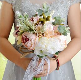sacs de tapis en gros Promotion 2019 Bouquets De Mariage De Perles De Mariée Bouquets De Fleurs Artificielles Pour Les Mariées Soie Pivoine Mariage Bouquet De Main Flores Boda