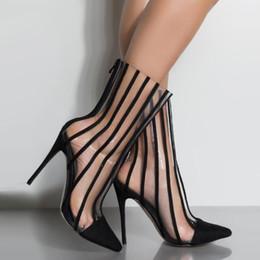 Botas de mujer estilo punk online-2019 Damas Botines Sexy PVC Botas Transparentes Mujeres Punta estrecha Tacones Altos Botas Otoño Mujer Punk Estilo Botines Zapatos de Mujer