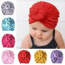5e26e2a6 Infant Toddler Unisex Ball Knot Indian Turban Kids Spring Autumn Caps Baby  Donut Hat Solid Color Cotton Hairband 12 colors MMA1297 300pcs