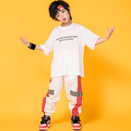 Hip-hop-tanzschule online-Kinder Sommer Kostüme Weiß Anzug Für Hip Hop Dance Breaking Drumming Schule Bühne Hip Hop Dance Kleidung Straße Kleidung BL1927