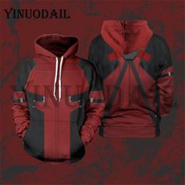 deadpool 3d костюм Скидка YINUODAIL Мужская толстовка с капюшоном 3D Толстовка с капюшоном Marvel Deadpool Косплей Костюм Топы
