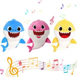Nuovo Pinkfong 3 colori 28 centimetri Baby Shark giocattoli di peluche con la musica Cartoon farcito Lovely Animal Soft bambole Music Shark Toy Party Favor 6pcs da
