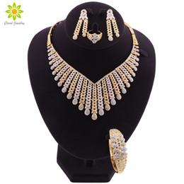 oro etioco Sconti Set di gioielli per le donne africani color oro collana orecchini set Dubai Wedding etiope moda costume gioielli