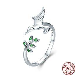 Autentico albero di primavera uccello in argento sterling 925 foglie anelli di dimensioni aperte per le donne gioielli in argento sterling jz374 da