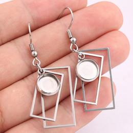 Bandejas de brincos em branco on-line-Duplo retângulo de aço inoxidável 8mm cabochão brinco configurações da base DIY balançar moldura em branco bandeja acessórios para fazer jóias