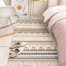 Mantas de lino online-SKTEZO algodón y lino borla dormitorio alfombra tejida estera del piso Puerta Manta Tapiz decorativo Sala de estar Zona de alfombras alfombra