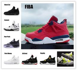 Retro Grande Dos Miúdos dos homens 4 FIBA Ginásio Vermelho Mens Basketball Shoes Asas de Pizza Neon 4s CRIADO Cimento Branco Pálido Citron Cacto Sapato tamanho: 7Y-US13 de Fornecedores de pizza crianças