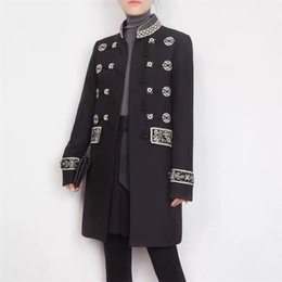 Deutschland 829 2019 herbst marke gleichen stil mantel stehkragen stickerei langarm luxus mode frauen kleidung changji Versorgung