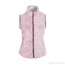 frauen rosa weste Rabatt Womens Sleeveless Rosa Weste Winter Warm Outwear Lässige Kunstpelz Reißverschluss Sherpa Jacke Frauen Westen M-2XL