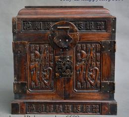 Caixa de jóias de madeira esculpida on-line-Old China Rosewood madeira esculpido Blessing Fu jóias palavra Box Treasure Estátua Caso