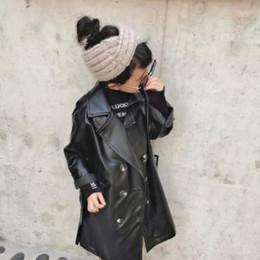 2019 casacos longos de inverno da linha da princesa Menina e meninos de couro jaquetas crianças Pu casacos trincheira de couro macio longos casacos para menina miúdos roupa 3-10Y ws1328