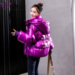 Argentina Parka Brillante para mujer de invierno Abrigos de Algodón Femeninos Moda Para Mujer Acolchado Pan Chaqueta de Gran Tamaño Impermeable 2019 Nuevo PURPLE PINK RED cheap purple bread Suministro