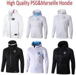 2019 camisetas de lyon De calidad superior 2018 19 20 PSG Survetement fútbol maillot de pie om capucha Olympique de Marsella con capucha de la chaqueta equipos de fútbol-formación