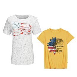 arrow camicie Sconti Camicia da donna Designer Stars American Flag Independence Giornata nazionale USA 4th July Arrow Letter Printed Short Sleeve Plus Size Women Tees