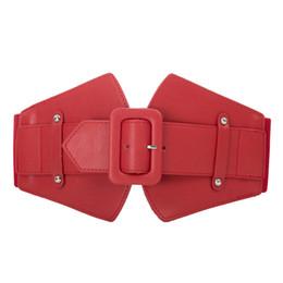 Cinto elástico vermelho largo on-line-KK Vermelho preto cor pura Mulheres Cintura escritório do partido Senhoras cintos largos Clássico Fivela Stretchy Elástico Na Cintura cinto para vestidos