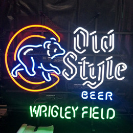 neon beer signs Promo Codes - Old Style BEER WRIGLERY FIELD Led Glass Tube Neon Signs Lamp Lights Advertising Display Bar Decoration Sign Metal Frame 17'' 20'' 24'' 30''