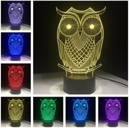 fabric baby owls Coupons - Lovely Owl LED 7 Color Change Flash Night Light Bedside Sleeping Safe Mood Lamp Home Decor Child Baby Kids Christmas Birthday Holiday Gifts