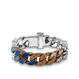 Pulsera cubana de plata online-Eslabones de la cadena PARCHES marcas de lujo de plata plateado cubana encanto de la pulsera de alta calidad Anchura diseños de joyería de los hombres brazalete de las pulseras Louis v
