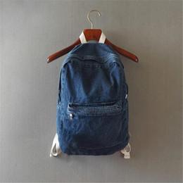 2019 mochila menina azul claro Colégio japonês vento denim mochila sólidos saco de viagem ocasional casal bolsa de ombro sacos de escola para meninas azul profundo e azul claro mochila menina azul claro barato