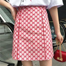 Novo design das mulheres de cintura alta a-line logotipo vermelho carta de impressão moda saia curta bloco de cor plus size tamanho grande saia SMLXLXXL3XL4XL de