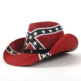 spitze netz gesicht Rabatt Sommer Unisex Handgemachte Amerikanische Flagge Cowboy Stroh Sonnenhut Mit Lederband USA Wilde Krempe CCaps Für Männer Und Frauen