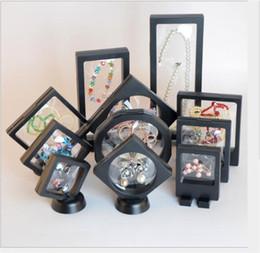 molduras pendentes para jóias Desconto Box Sombra 3D quadro flutuante Jóias Display Case com uma moldura de suporte de imagem Anéis colar de pingente Moedas Medalhas de apresentação caixas de caso