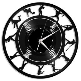 Basebol vinil relógio de parede | Presente original para os amantes de esportes | Decoração da sala de casa de