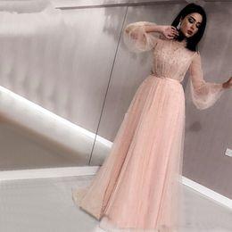 Dlass Noir Perles De Pêche Plage Tulle Robes De Bal 2019 Dernière Conception À Manches Longues Robes De Soirée Sexy robe de soirée ? partir de fabricateur