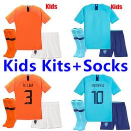 Squadra di calcio dei ragazzi online-2018 2019 Holland soccer jersey squadra nazionale olandese JERSEY memphis SNEIJDER V.Persie maglie da calcio olandesi Kids Kits + Socks