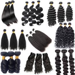 Dessus ondulé en Ligne-TOP Grade 9a Brésilien de cheveux humains tisse 3 faisceaux de cheveux remy non transformés droits ondulés profonds bouclés vison extension de cheveux vierge