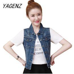 1313c04a074 Spring Women Denim Jacket Waistcoat Vintage Slim Sleeveless Coat  Single-breasted Denim Vest Jeans Lady Outwear Short Casual Tops ladies  short jeans top for ...