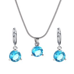 simple round crystal lighting Promo Codes - Simple Style Two-piece Round Crystal Zircon Pendant Necklace Jewelry Set Women Girls Mother's Day Gift Set Blue Pink Color