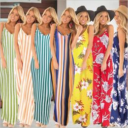 blumen-midi-röcke Rabatt Kleider Maxi Böhmisches Kleid Sommer Blumendruck Kleid Floral Midi Kleid Ärmellos Sexy Kleider Gestreifte Freizeitkleider Hosenträger Rock 5499
