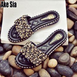 zapatos babouche Rebajas Ake Sia Summer Lady Mujer Maiden Mujer Moda Casual Rhinestone Peep Toe Sandalias de Playa Zapatillas Planas Babouche Diapositivas Zapatos A219